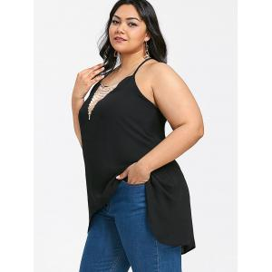 Plus Size Necklace Embellished High Low Tank Top -