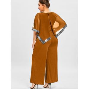 Plus Size Slit Sleeve Wide Leg Jumpsuit -