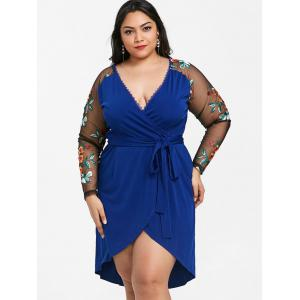 Plus Size Floral Embroidery Waistbelt Dress -