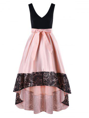 Affordable Lace Trim Sleeveless High Low Maxi Dress