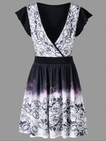 Plunging Neckline Ombre Color Printed Dress