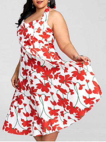Unique Plus Size Flower Halter Rockabilly Dress
