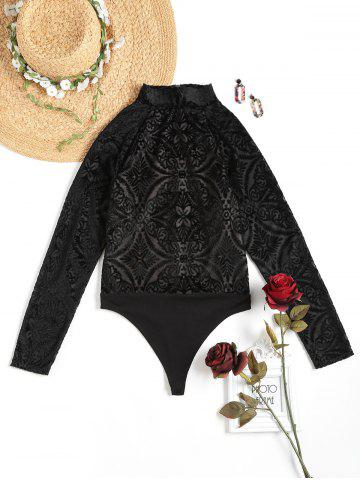Sale FRENCH BAZAAR Cutout Shoulder Floral Long Sleeve Clubwear Bodysuit