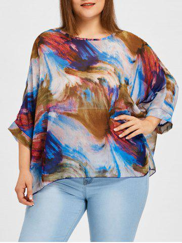 Unique Graphic Plus Size Batwing Sleeve Blouse