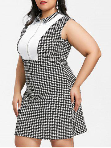 Outfits Houndstooth Print Half Zipper Insert Plus Size Dress