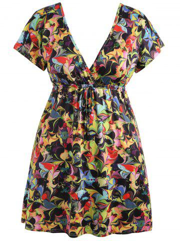 Online Plunging Neck Plus Size Mini Printed Dress