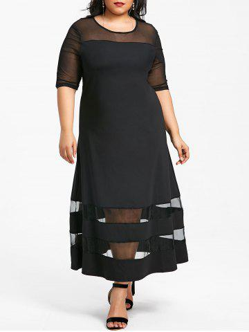 Unique Round Neck Plus Size Mesh Panel Longline Dress