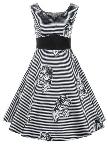 Fancy Striped Print Sweetheart Neck Flare Dress