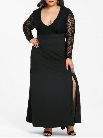 Hot Front Slit Plus Size Lace Maxi Dress