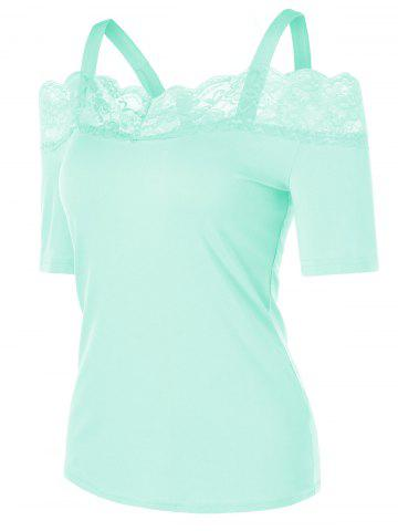 Chic Cold Shoulder Lace Insert T-shirt