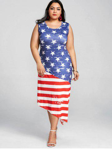 Sleeveless Plus Size Patriotic American Flag Dress