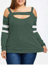 Plus Size Cut Out Open Shoulder Top -