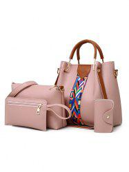 Chic Faux Leather 4 Pieces Tote Bag Set -