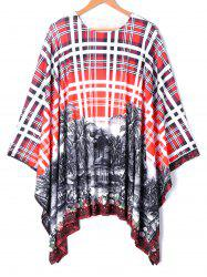 Oversized Batwing Sleeve Plaid Printed Handkerchief Top -