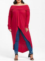 Plus Size High Low Off Shoulder T-shirt -