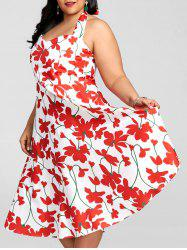 Plus Size Flower Halter Rockabilly Dress -