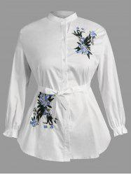 Plus Size Elastic Cuffs Floral Embroidery Shirt -