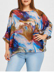 Graphic Plus Size Batwing Sleeve Blouse -