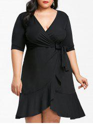 Plunging Neck Plus Size Flounce Hem Dress -