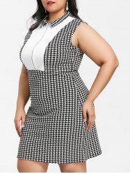 Houndstooth Print Half Zipper Insert Plus Size Dress -