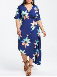Plunging Neck Plus Size Printed Wrap Dress -