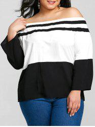 Color Block Plus Size Off The Shoulder T-shirt -