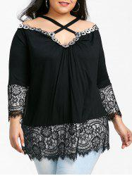 Criss Cross Lace Trim Plus Size Tunic Top -