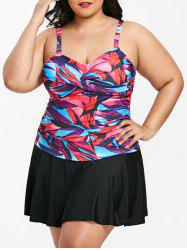 Plus Size One Piece Twist Front Skirted Swimwear -