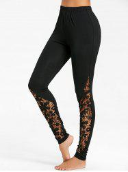 Hollow Out Lace Panel Fitted Pants -