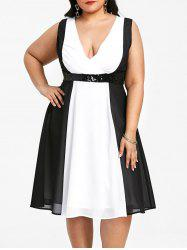 Plus Size Two Tone Sleeveless Plunging Dress -