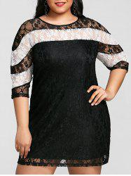 Color Block Plus Size Mini Lace Dress -