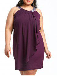 Plus Size Glittery Bib Neck Sleeveless Dress -