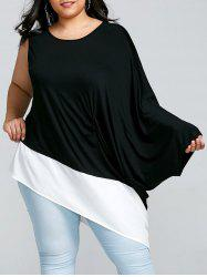 Plus Size Two Tone One Shoulder T-shirt -