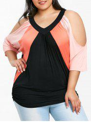 Three Tones Plus Size Cold Shoulder T-shirt -