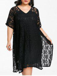 V Neck Plus Size Lace Dress -