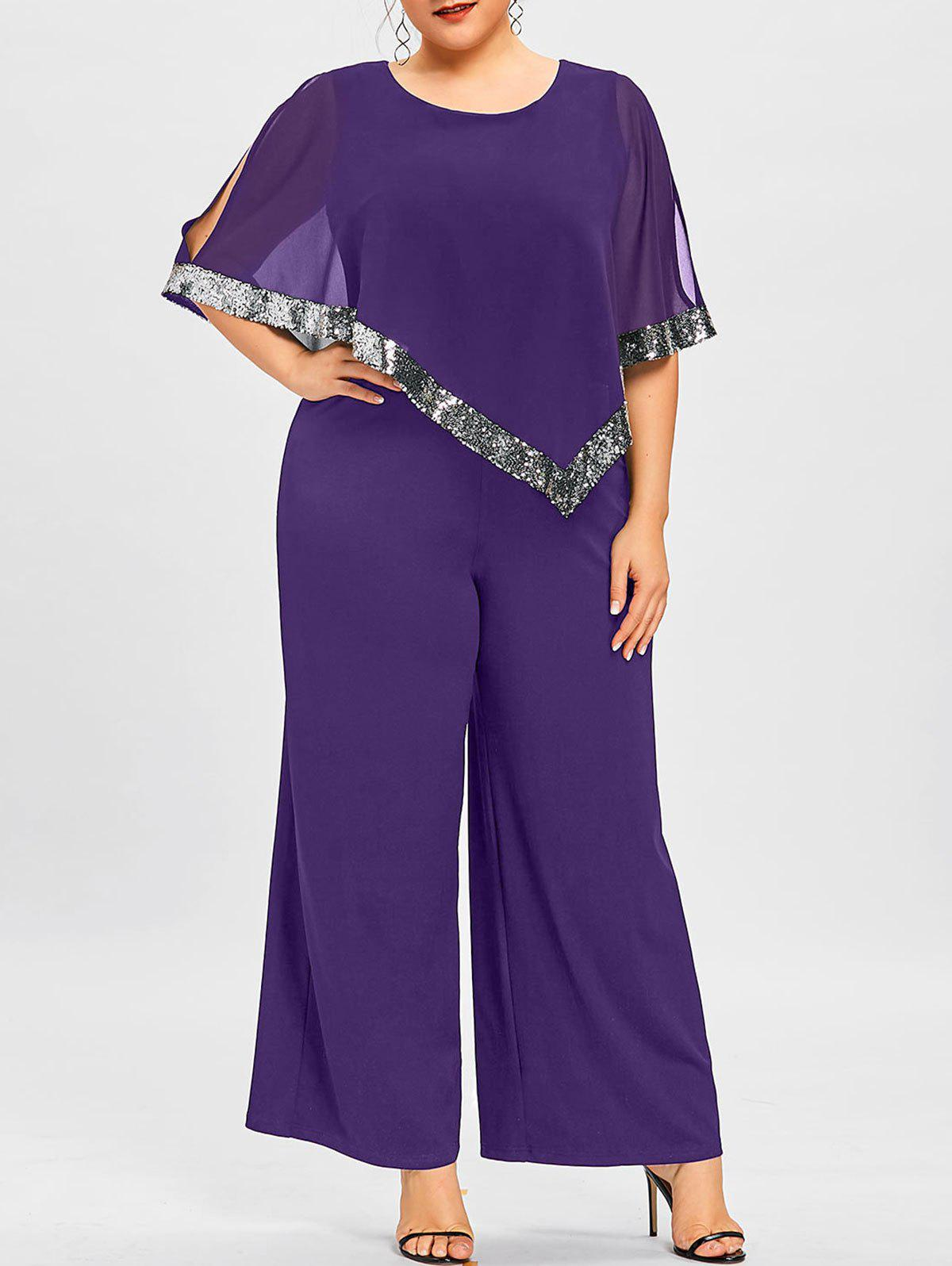 Shops Plus Size Slit Sleeve Wide Leg Jumpsuit