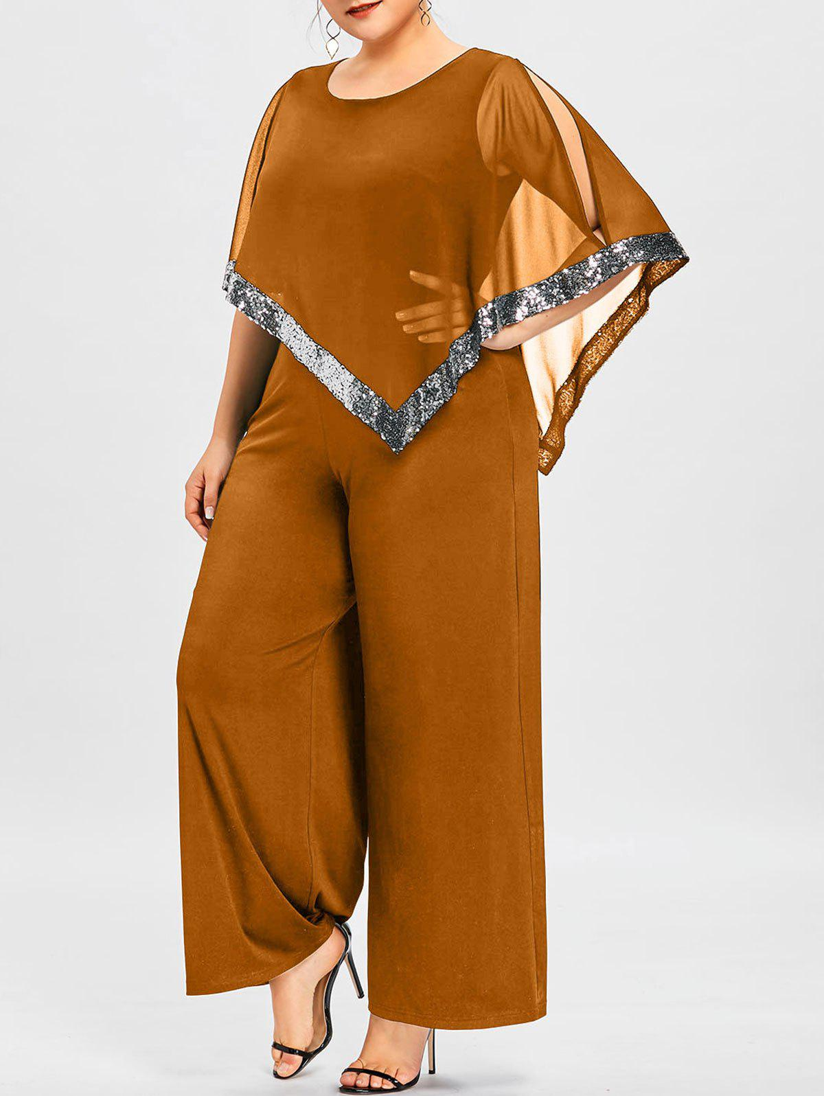Trendy Plus Size Slit Sleeve Wide Leg Jumpsuit