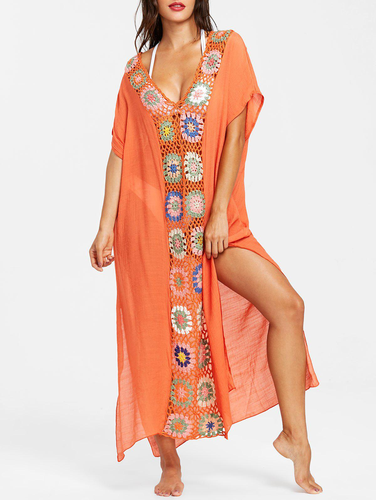 New Floral Crochet Maxi Cover-up
