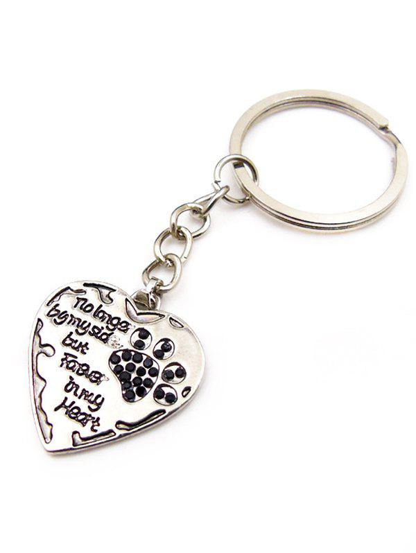 Outfits Letters and Dog Footprint Heart Pendant Keyring