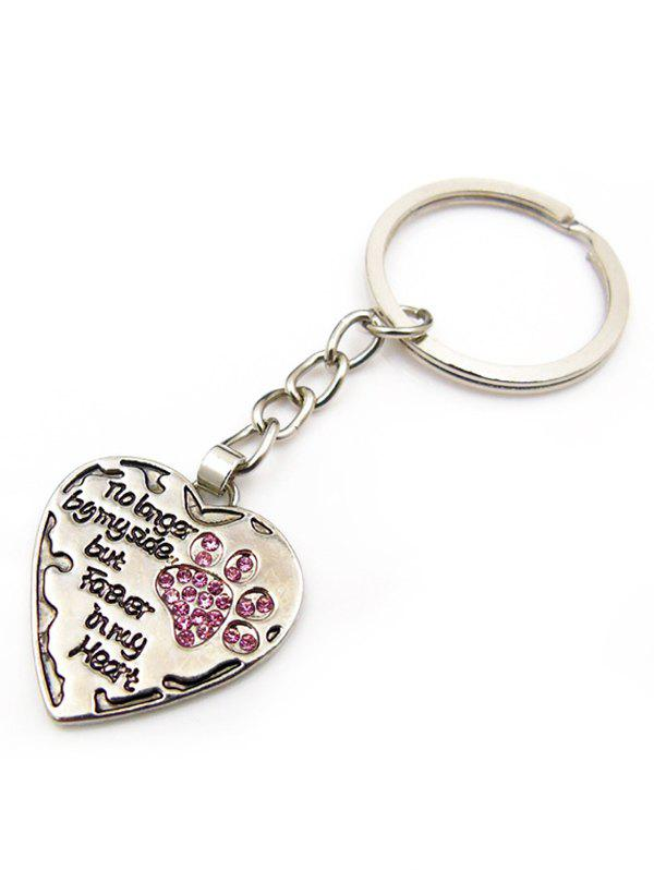 Buy Letters and Dog Footprint Heart Pendant Keyring
