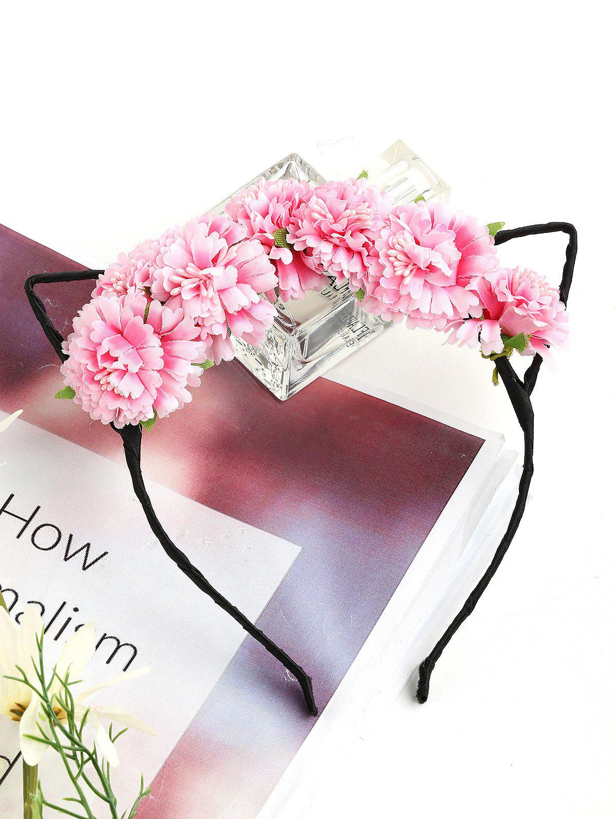 Trendy Floral Embellished Kitten Ear Headband