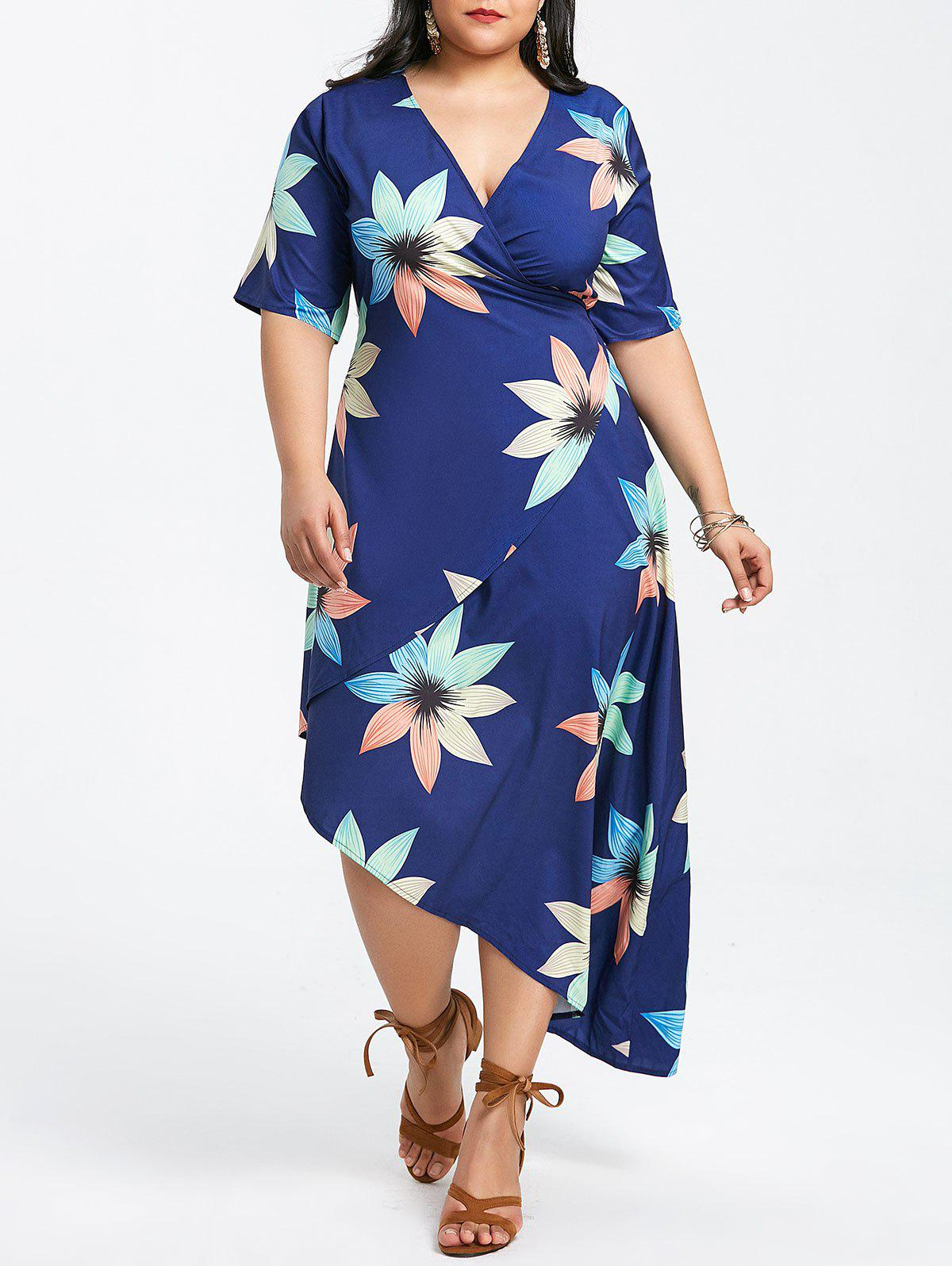 Affordable Plunging Neck Plus Size Printed Wrap Dress