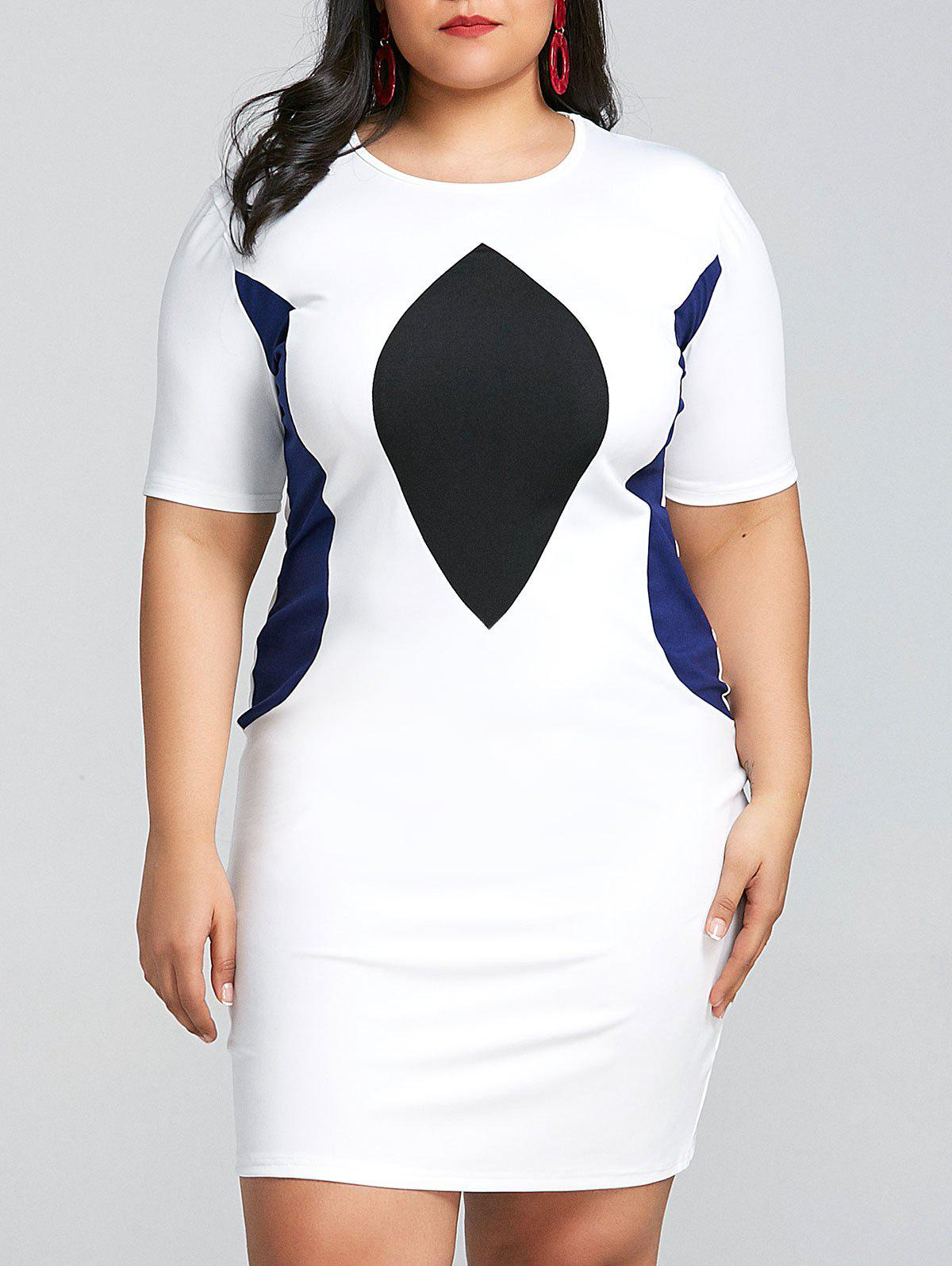 Fashion Color Block Plus Size Bodycon Dress