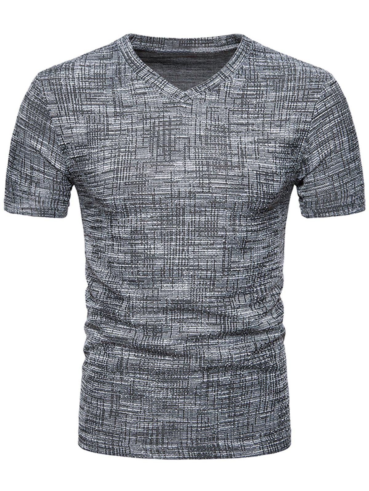 Fancy Knitted Design Short Sleeve T-shirt