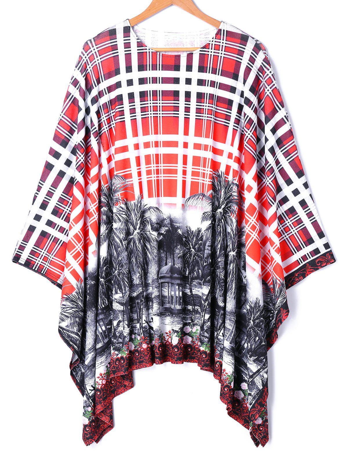 Trendy Oversized Batwing Sleeve Plaid Printed Handkerchief Top