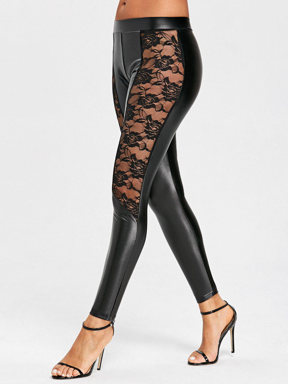 Hot Lace Panel Low Waist PU Leather Pants