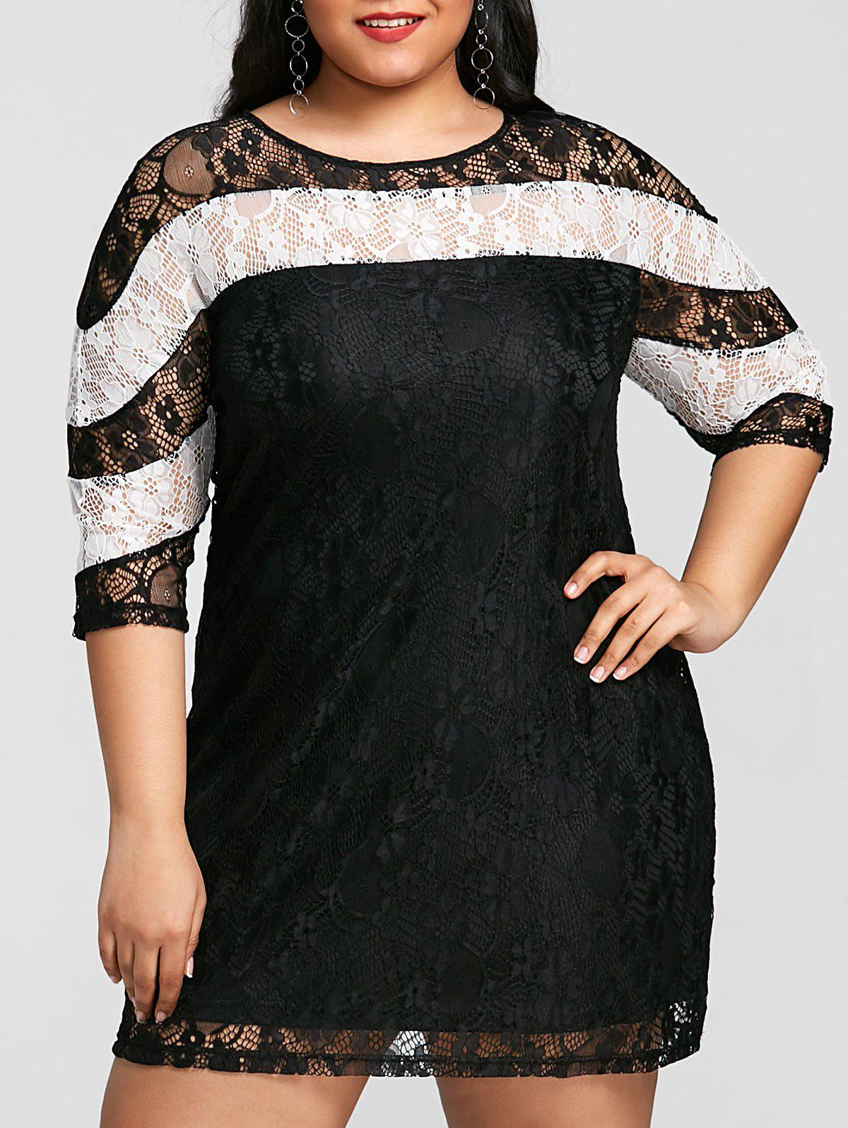 Chic Color Block Plus Size Mini Lace Dress