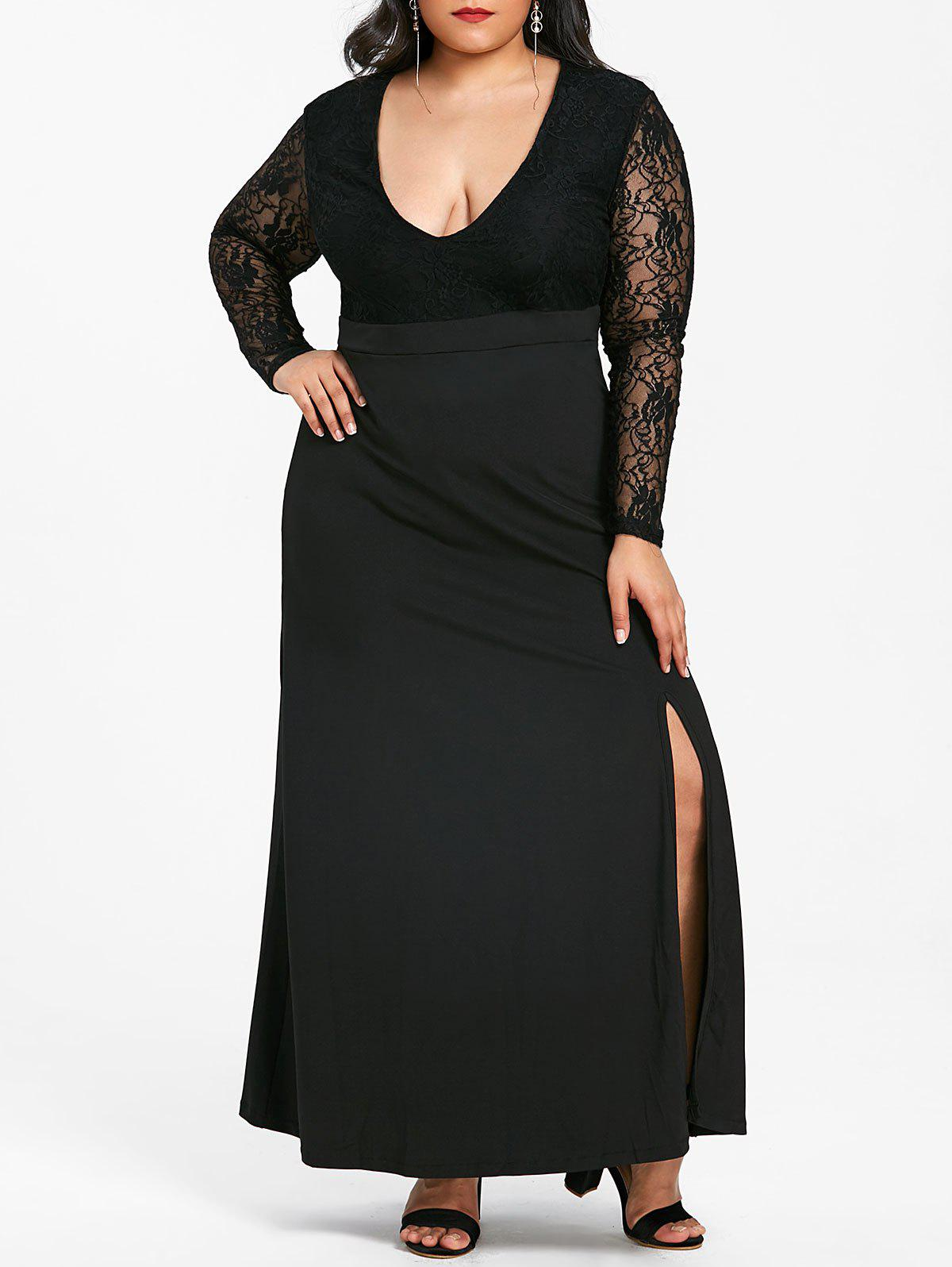 Discount Front Slit Plus Size Lace Maxi Dress