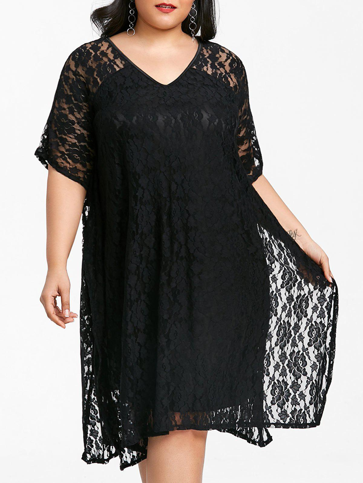 Hot V Neck Plus Size Lace Dress