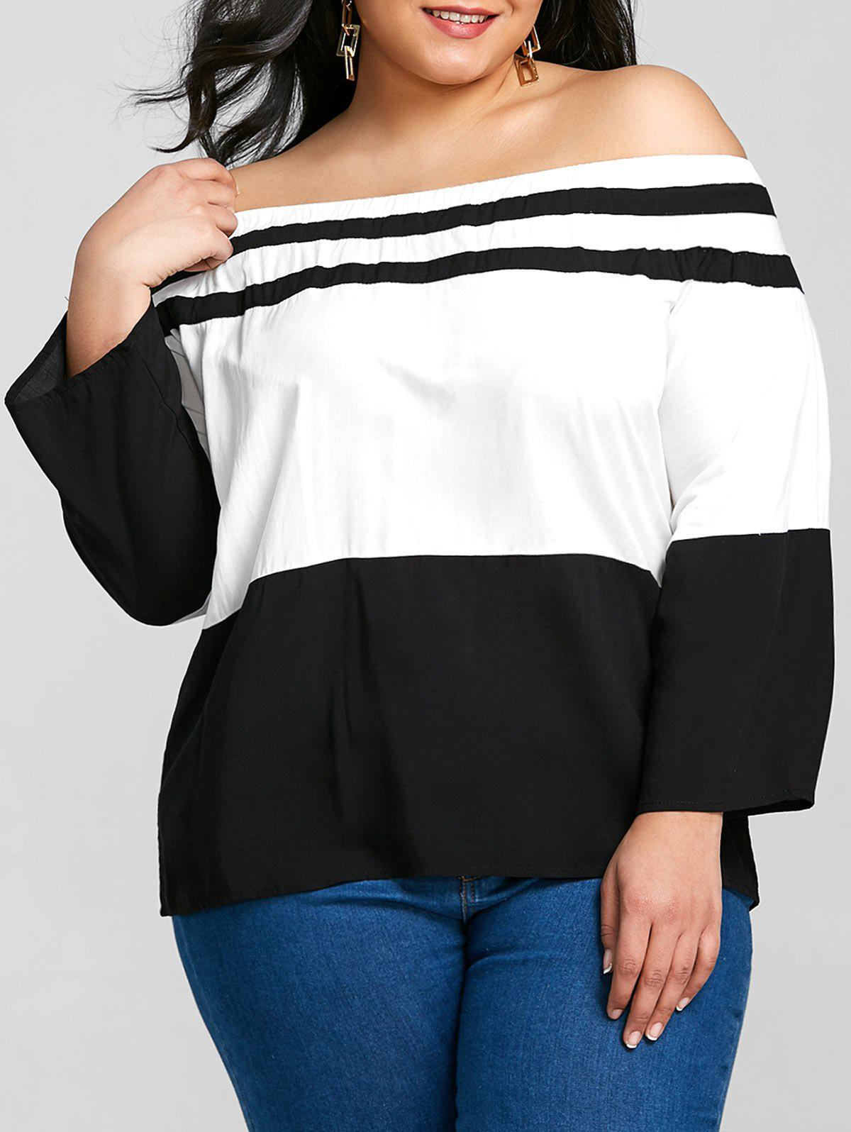 Buy Color Block Plus Size Off The Shoulder T-shirt